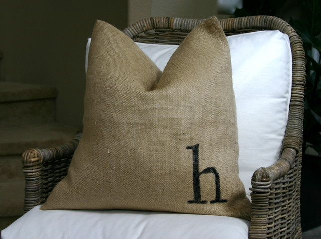 Burlap pillows eclectic living room