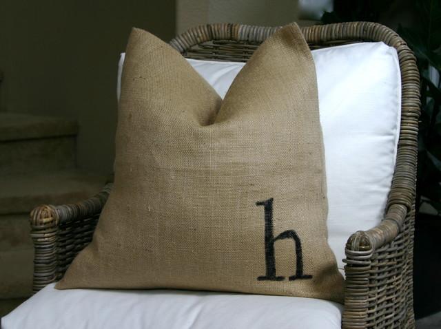 Burlap pillows eclectic-living-room