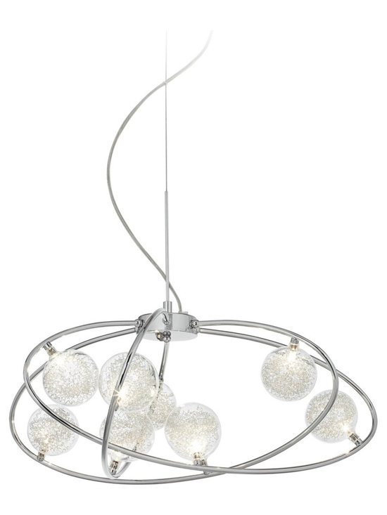 "Possini Euro Design - Revel 30"" Wide Contemporary Pendant Light - Add glamorous dazzle to your decor with this contemporary chrome pendant light. Three metal hoops seem to float through the air adorned with nine glass globes. The globes feature curly wire inside creating a delightful textural look. Chrome finish ceiling canopy wire and cable are included. Chrome finish metal pendant light. Glass globes with curly wires inside. Includes nine 20 watt G4 halogen bulbs. 30"" wide. Canopy is 7 1/2"" wide and 2"" high. Includes 10' wire and cable.  Chrome finish metal pendant light.   Glass globes with curly interior wires.   Includes nine 20 watt G4 halogen bulbs.   30"" wide.   19"" high.  Canopy is 7 1/2"" wide 2"" high.   Includes 10 feet of wire and cable."