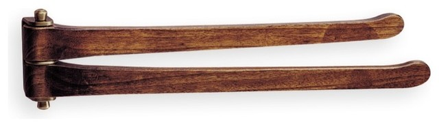 Wooden 16 Inch Double Swivel Towel Bar by StilHaus traditional-towel-bars-and-hooks