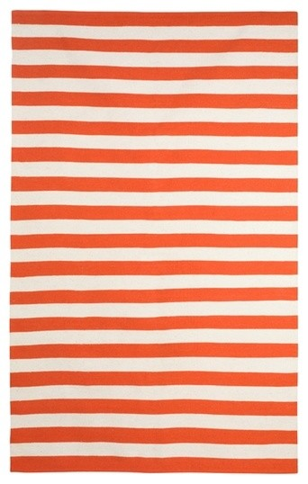 Draper Stripe Rug in Persimmon and Cream by DwellStudio modern-rugs
