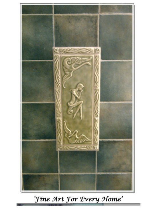 Bathroom Accent tile in Lilypad green -