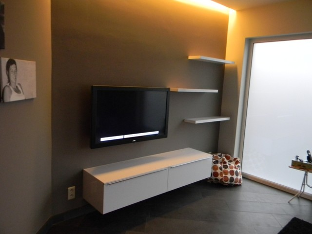 Floating shelves and Tv unit in Gloss white craftsman-wall-shelves