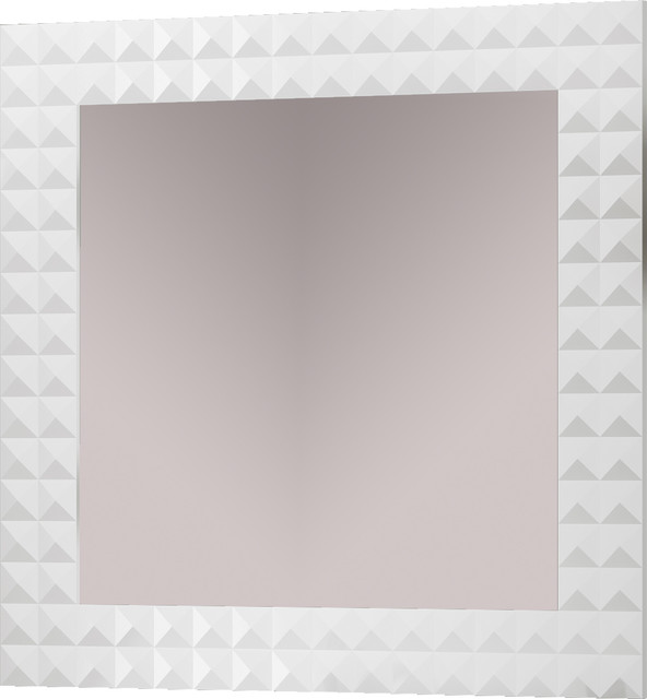 Diamond 31 1 2 framed mirror white contemporary for White framed mirror