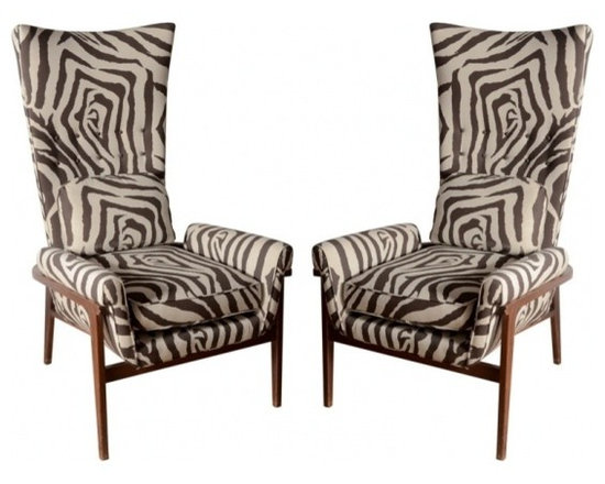 ecofirstart - Midcentury High Back Chairs - USA midcentury Pair of midcentury high-back chairs in the style of Adrian Paersall upholstered in printed linen.