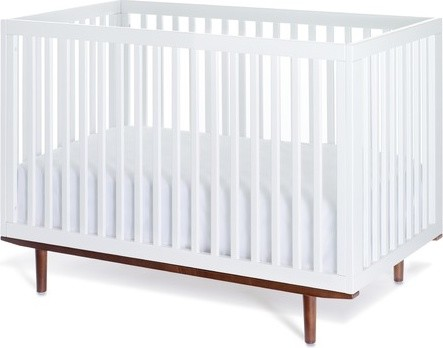 Ray Crib in White with Hazelnut Base modern-cribs