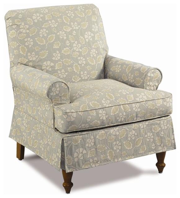 Gwynn Skirted Roll Arm Chair w Tight Back Traditional