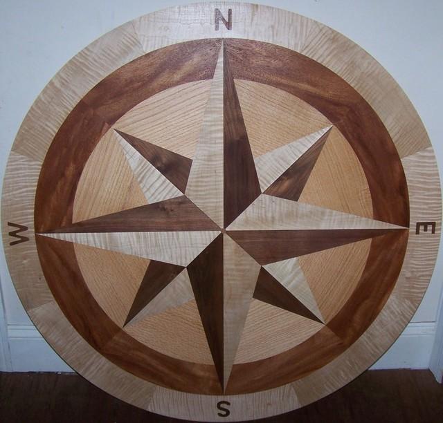 Compass rose hardwood floor medallion 42 ceto 07 style for Wood floor medallions