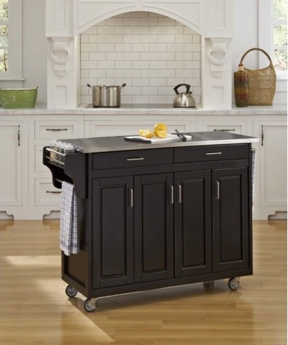 Belham Living White Mid Size Kitchen Island With Stainless: Create-a-Cart Kitchen Cart With Stainless Steel Top