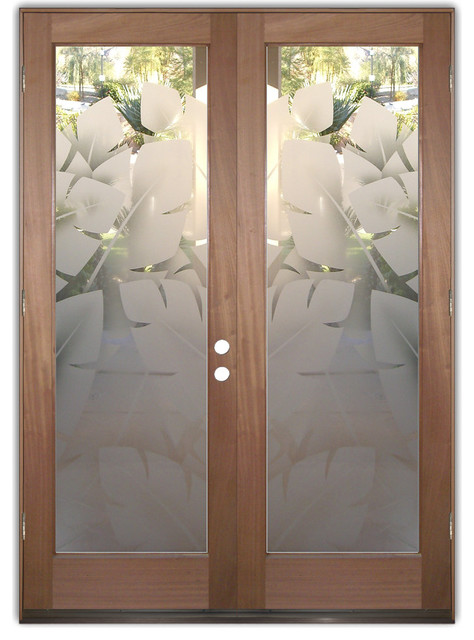 interior glass doors frosted obscure banana leaves 2d