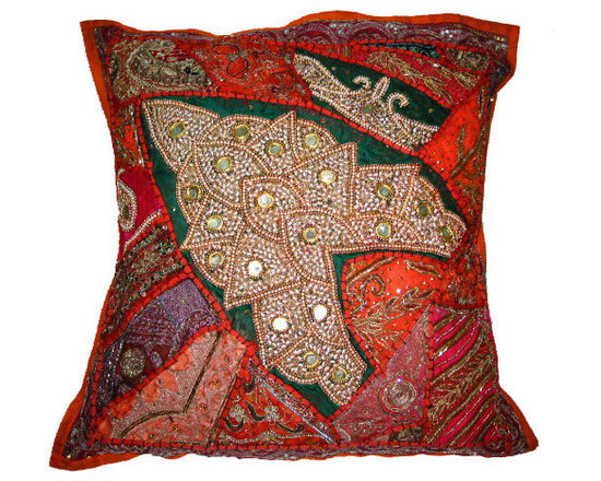 Decorative Cushion Cover - Orange,Red Beautiful heavy embroidered Zardozi sari tapestry pillow covers.