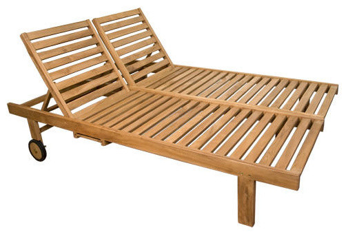 Balero Teak Double Chaise Lounge Chair Contemporary Outdoor Chaise Lounges