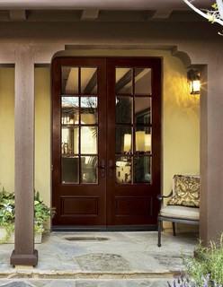 Jeld-Wen A5508 Mahogany Woodgrain Door Sable Finish Clear IG Glass - Eclectic - Front Doors ...