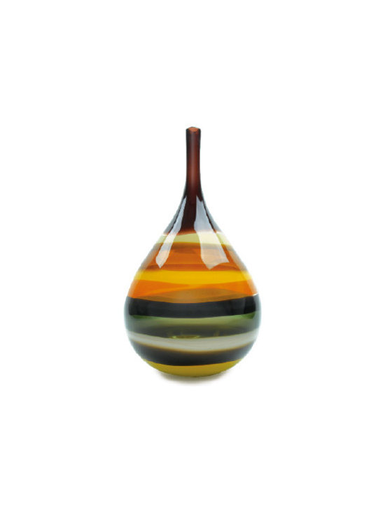 Caleb Siemon Mustard Banded Teardop Vase - Inspired by the rich hues and topography of Southern California, alternating layers of opaque and transparent colors are applied to clear glass. New colors are formed by overlaps, adding depth to the pieces. Simple shapes compliment intense colors. Hand blown and shaped in lead free crystal. Designed by Caleb Siemon. Made in California. Signed.