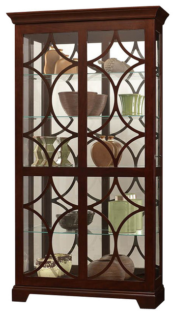 Howard Miller Morriston Curio Cabinet with Light in Chocolate Finish - Transitional - Storage ...