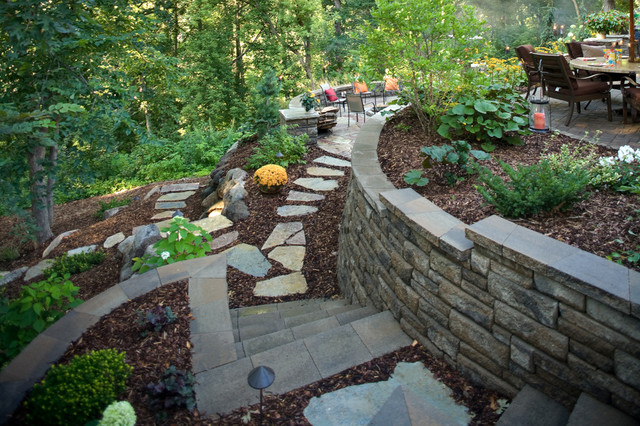 Traditional retainer walls for Block wall landscape design