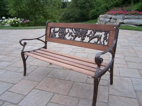Oakland Living Animals Wrought Iron Wood Arm Bench Child Size Traditional Outdoor Benches