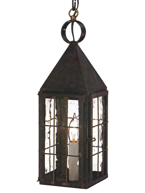 Colonial Williamsburg Pendant Copper Lantern Hanging Light - The Colonial Williamsburg Pendant Copper Lantern Hanging Light, shown in Antique Copper with Seedy Glass, is made in America from pure copper or brass and is designed to last for decades. Available in Wall Sconce, Pendant Light and Post Light versions in a variety of size, finish and glass options, the classic elegant style will complement any decor.