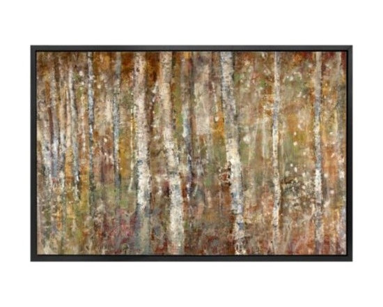 Z Gallerie - Birch Forest - Original Art - Continuing her series of abstract forests, Alexys Henry delivers a tonal hued original piece inspired by nature.  Layered with rich shades of chocolate, camel and sage Henry decidedly captures the essence of a birch forest and offers a feeling of tranquility. Highlighting the backdrop the forest continues into seeming infinity in this original piece.  Completing the look Birch Forest comes finished with an understated frame in black.