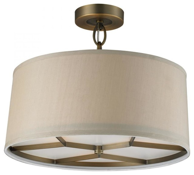 Modern Drum Ceiling Lights : Three light brushed antique brass drum shade semi flush
