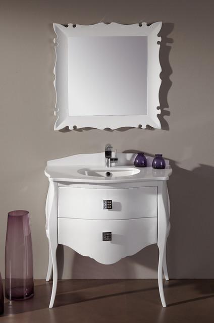 Fresca platinum paris glossy white 35 bathroom vanity for Decorplanet bathroom vanities