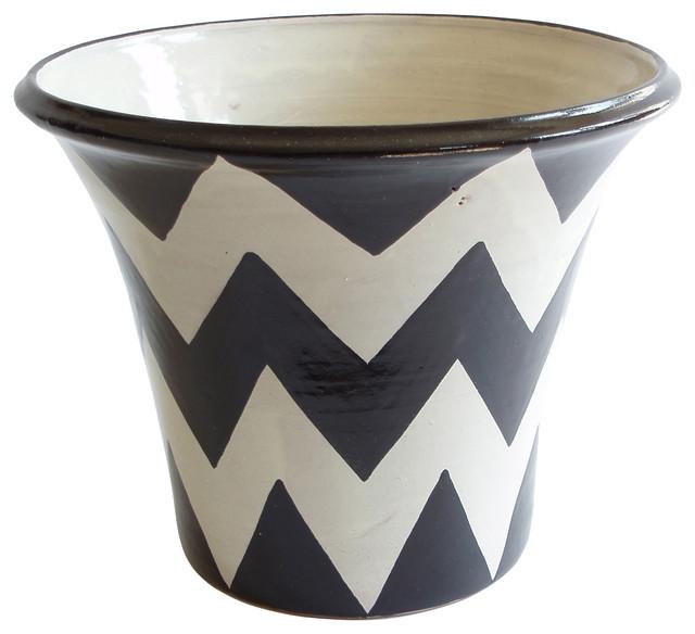 zigzag planter black white craftsman indoor pots and planters by emilia ceramics