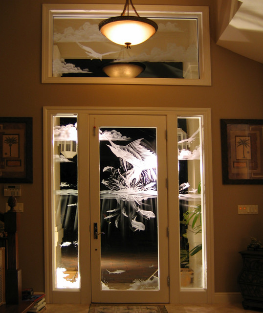 Art glass application residential eclectic front for Residential front doors with glass