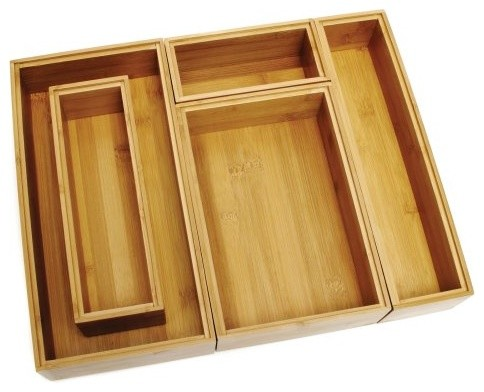 Lipper Bamboo Drawer Organizer Boxes - Set of 5 contemporary-cabinet-and-drawer-organizers