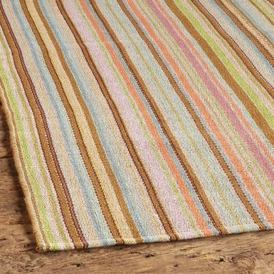 Zanzibar Ticking Stripe Cotton Mat, Large contemporary rugs