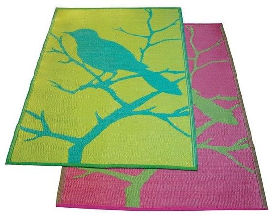 Bird Design Outdoor Plastic Rug - The Bird Design outdoor plastic rug adds a splash of color to the outdoor room.