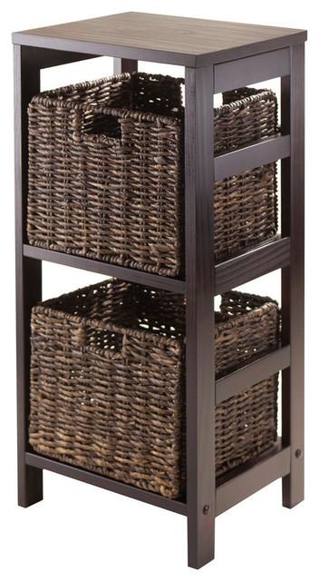 Winsome Wood Granville 3 Piece Storage Shelf w/ 2 Foldable Baskets in Espresso contemporary-storage-cabinets