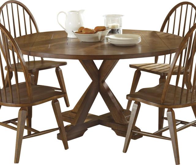Liberty Furniture Hearthstone 60 Inch Round Drop Leaf Dining Table In Oak Mediu Farmhouse