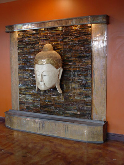 Custom water features indoor fountains san diego by for Outdoor wall waterfall design
