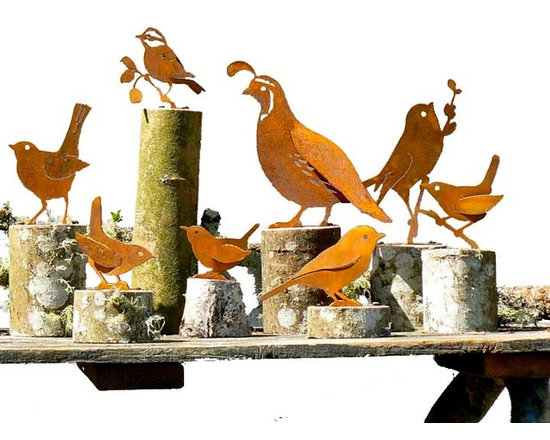 Metal Bird Silhouettes (Medium) - This assemblage depicts familiar birds that are, by nature, a bit larger with a tendency to show off. Think of those squawky blue jays, cardinals, crows and woodpeckers. Fortunately, you can choose the strong silent type that won't mess with the cat or dive bomb the chickadees. Rustic and stationary, we even offer the Cleopatra of birds – the California Quail – and a standard and screech owl for the vegetable garden or barn. Six to ten inches in height. Scroll down to select your yard star.