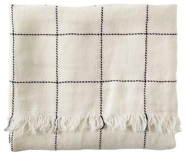 Linen Windowpane Throw  Ivory traditional-sheets