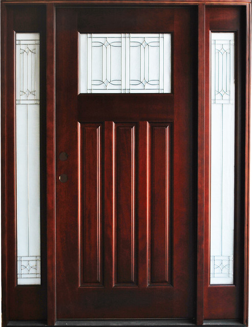BGW-M41 Mahogany Door with Sidelights traditional-front-doors
