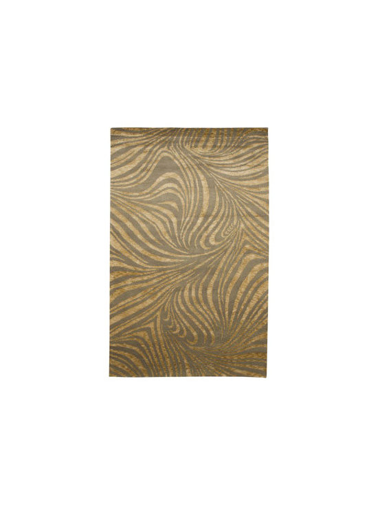 "Horchow - ""Swirled Zebra"" Rug - Taking inspiration from the African veldt, this modern rug features a boldly scaled zebra print for a look that is both earthy and sophisticated. Hand knotted of hand-spun wool and silk. Sizes are approximate. Imported. See our Rug Guide for tip..."