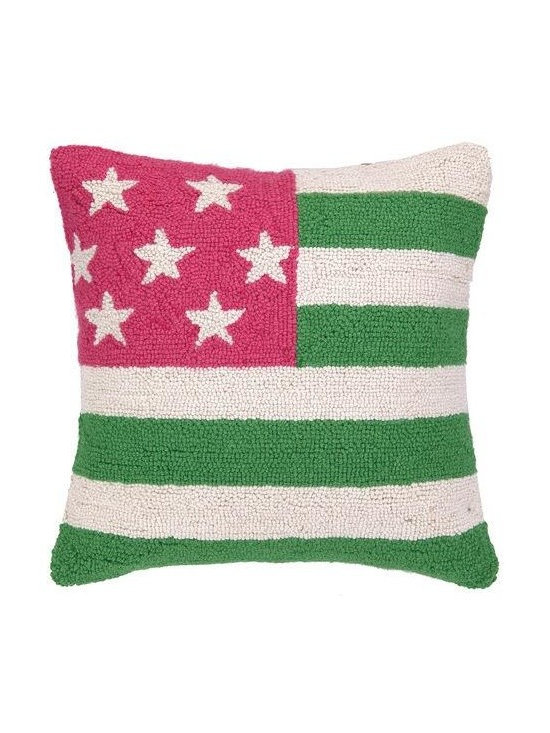 PHI - PHI American Flag Hood Pillow-Pink/Green - Pink and green American Flag Hood pillow by PHI