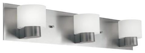 Adao Brushed Nickel Three-Light Fluorescent Bath Light contemporary-bathroom-lighting-and-vanity-lighting