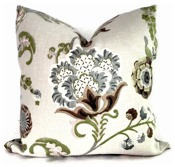 Kravet Green And Grays Jacobean Floral Pillow Cover By PopOColor contemporary-pillows