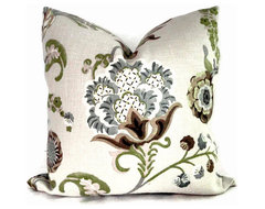 Kravet Green And Grays Jacobean Floral Pillow Cover By PopOColor contemporary pillows