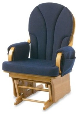 Foundations Lullaby Adult Glider Rocker in Natural/Navy Blue contemporary-gliders