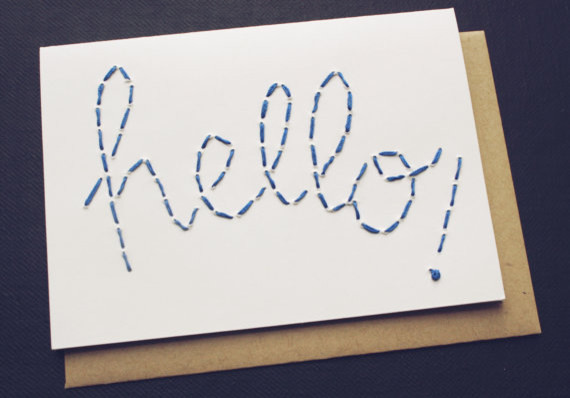 Blue Embroidered Hello Card by Blue Eye Brown Eye modern-home-decor