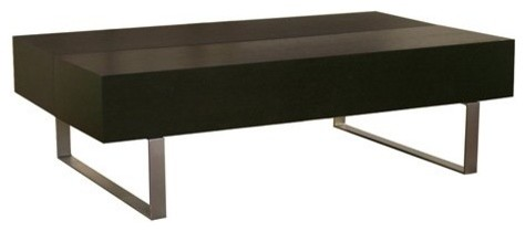Baxton Studios Noemi Modern Coffee Table with Storage Compartments - Black modern-coffee-tables