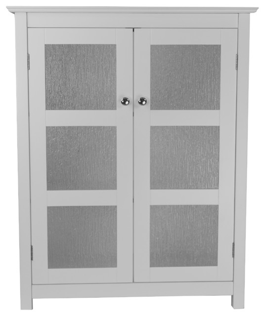Highland White Double Glass Door Floor Cabinet ...
