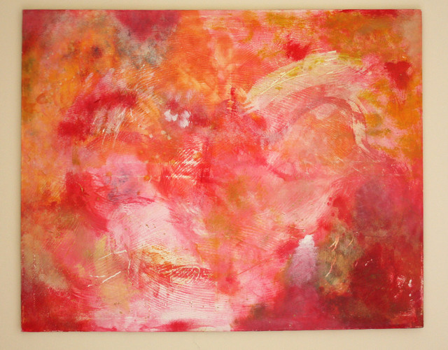 Original Oil Painting Large Abstract in Red by Rossana Novella contemporary artwork