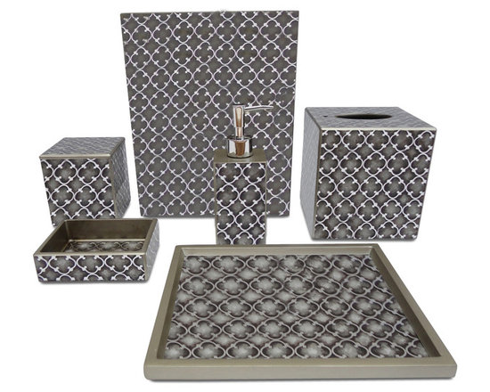 Waylande Gregory Grey Iron Gate Bathroom Set - Give your bathroom the spa makeover it deserves with this elegant and sophisticated set of bathroom accessories. Each piece is done in sleek grey and silver and features a gorgeous geometric motif that adds to the allure. Purchase a few pieces individually to make a modest impact in your powder room or commit to the entire set to really transform your space.