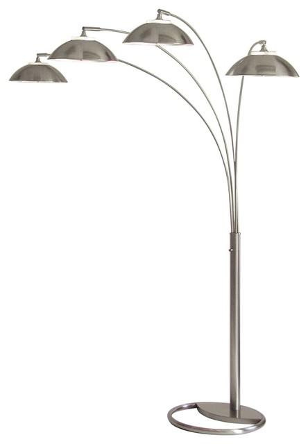 contemporary saucer four light arc floor lamp contemporary floor lamps. Black Bedroom Furniture Sets. Home Design Ideas