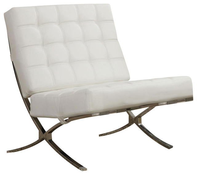 Coaster X Style Chrome Legs White Faux Leather Waffle Accent Chair Modern