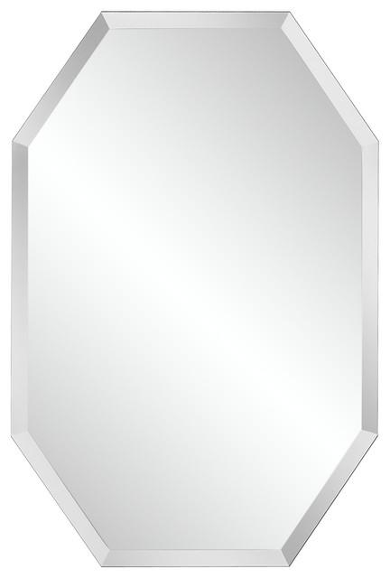 Octagonal frameless 36 high beveled mirror contemporary for Octagon beveled mirror